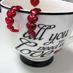 Retro stacked hearts hoop earrings